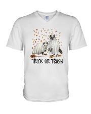 Halloween Racoon Ghost Trick Or Trash Shirt V-Neck T-Shirt thumbnail