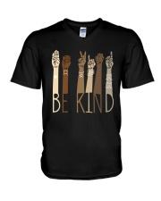 Sign Language Be Kind Shirt V-Neck T-Shirt thumbnail