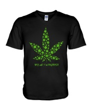 Cannabis Kiss Me I'm Highrish Shirt V-Neck T-Shirt thumbnail