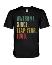 Awesome Since Leap Year 1980 Shirt V-Neck T-Shirt thumbnail