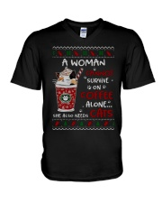 Survive On Coffee Alone She Also Needs Cats Shirt V-Neck T-Shirt thumbnail