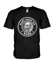 Skull Hate Keeps Me Warm Shirt V-Neck T-Shirt thumbnail