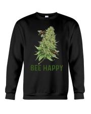 Cannabis Bee Happy Shirt Crewneck Sweatshirt thumbnail