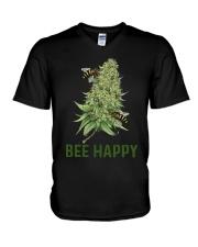 Cannabis Bee Happy Shirt V-Neck T-Shirt thumbnail