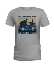 Vintage They See Me Mowin' They Hatin' Shirt Ladies T-Shirt thumbnail