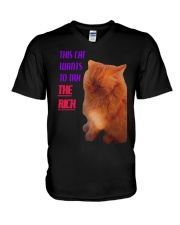 This Cat Wants To Tax The Rich Shirt V-Neck T-Shirt tile