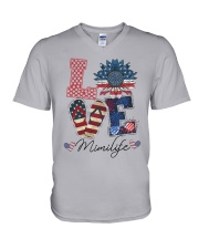 American Flag Sunflower Love Mimi Life Shirt V-Neck T-Shirt thumbnail