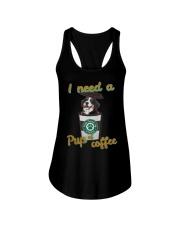 Bernese Mountain I Need A Pup Of Coffee Shirt Ladies Flowy Tank thumbnail
