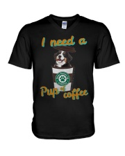 Bernese Mountain I Need A Pup Of Coffee Shirt V-Neck T-Shirt thumbnail