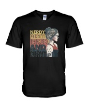 Vintage Girl Nerdy Dirty Inked And Curvy Shirt V-Neck T-Shirt tile