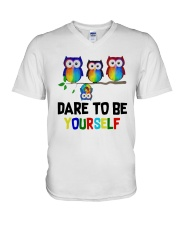 Owls Dare To Be Yourself Shirt V-Neck T-Shirt thumbnail
