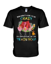 Flamingo Beer You Dont Have To Be Crazy Camp Shirt V-Neck T-Shirt thumbnail
