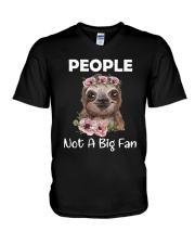 Flower Sloth People Not A Big Fan Shirt V-Neck T-Shirt thumbnail