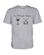I'm A Simple Woman Like Wine Hockey Shirt V-Neck T-Shirt thumbnail