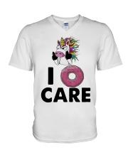 Unicorn Donut I Care Shirt V-Neck T-Shirt thumbnail
