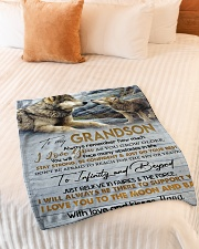 """To My Grandson Small Fleece Blanket - 30"""" x 40"""" aos-coral-fleece-blanket-30x40-lifestyle-front-01"""