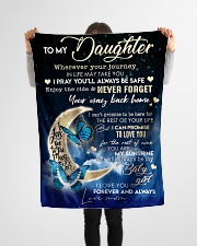 """Blanket To MY Daughter Small Fleece Blanket - 30"""" x 40"""" aos-coral-fleece-blanket-30x40-lifestyle-front-14"""