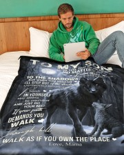 """To My Son - Mama Large Fleece Blanket - 60"""" x 80"""" aos-coral-fleece-blanket-60x80-lifestyle-front-06"""
