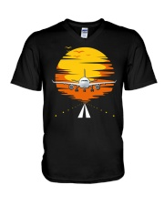 AIRPLANE GIFTS  - SUNSET AIRPLANE V-Neck T-Shirt thumbnail