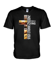 GIFTS FOR NEW PILOTS - WHOLE LOT OF JESUS V-Neck T-Shirt thumbnail