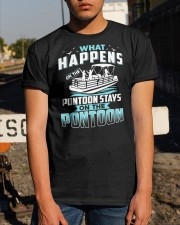 PONTOON BOAT GIFT - WHAT HAPPENS Classic T-Shirt apparel-classic-tshirt-lifestyle-29