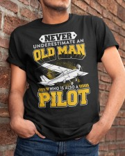 PILOT GIFTS -  NEVER UNDERESTIMATE AN OLD MAN Classic T-Shirt apparel-classic-tshirt-lifestyle-26