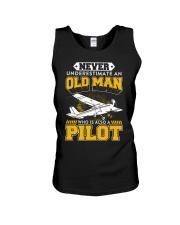 PILOT GIFTS -  NEVER UNDERESTIMATE AN OLD MAN Unisex Tank thumbnail