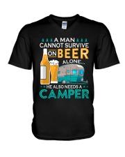 BONFIRE AND BEER - CAMPER V-Neck T-Shirt thumbnail