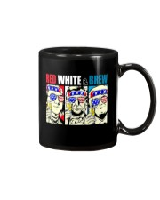 CRAFT BEER BREWERY RED WHITE AND BREW Mug tile