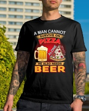 CRAFT BEER LOVER - A MAN NEEDS BEER AND PIZZA Classic T-Shirt lifestyle-mens-crewneck-front-8