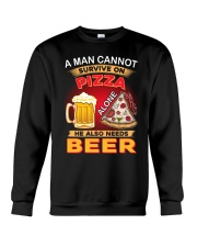 CRAFT BEER LOVER - A MAN NEEDS BEER AND PIZZA Crewneck Sweatshirt thumbnail