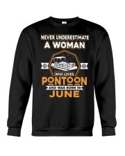 PONTOON BOAT GIFT - JUNE PONTOON WOMAN Crewneck Sweatshirt thumbnail