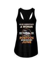 PONTOON BOAT GIFT - JUNE PONTOON WOMAN Ladies Flowy Tank thumbnail