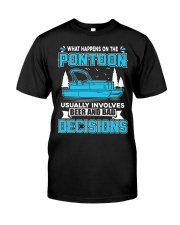 PONTOON BOAT GIFT - BEER AND BAD DECISIONS Classic T-Shirt front