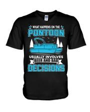 PONTOON BOAT GIFT - BEER AND BAD DECISIONS V-Neck T-Shirt thumbnail