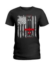PILOT GIFTS - CESSNA AIRPLANE FLAG Ladies T-Shirt thumbnail