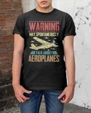 PILOT GIFT - WARNING AEROPLANES Classic T-Shirt apparel-classic-tshirt-lifestyle-31
