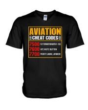AVIATION RELATED GIFT - CHEAT CODE V-Neck T-Shirt thumbnail