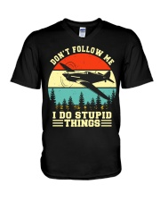 PILOT GIFTS - DON'T FOLLOW ME I DO STUPID THINGS V-Neck T-Shirt tile