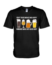 CRAFT BEER LOVER - MAKES ME HAPPY V-Neck T-Shirt thumbnail