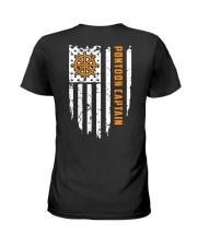 PONTOON BOAT GIFT - CAPTAIN FLAG BACK Ladies T-Shirt thumbnail