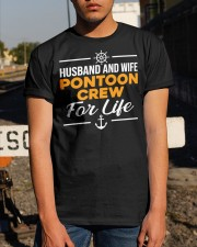 PONTOON BOAT GIFT - HUSBAND AND WIFE PONTOON CREW Classic T-Shirt apparel-classic-tshirt-lifestyle-29