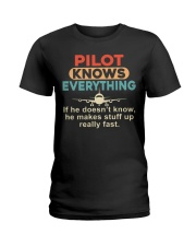 He - A Pilot Knows Everything Ladies T-Shirt thumbnail