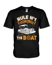 PONTOON BOAT GIFT - RULE 1 V-Neck T-Shirt thumbnail