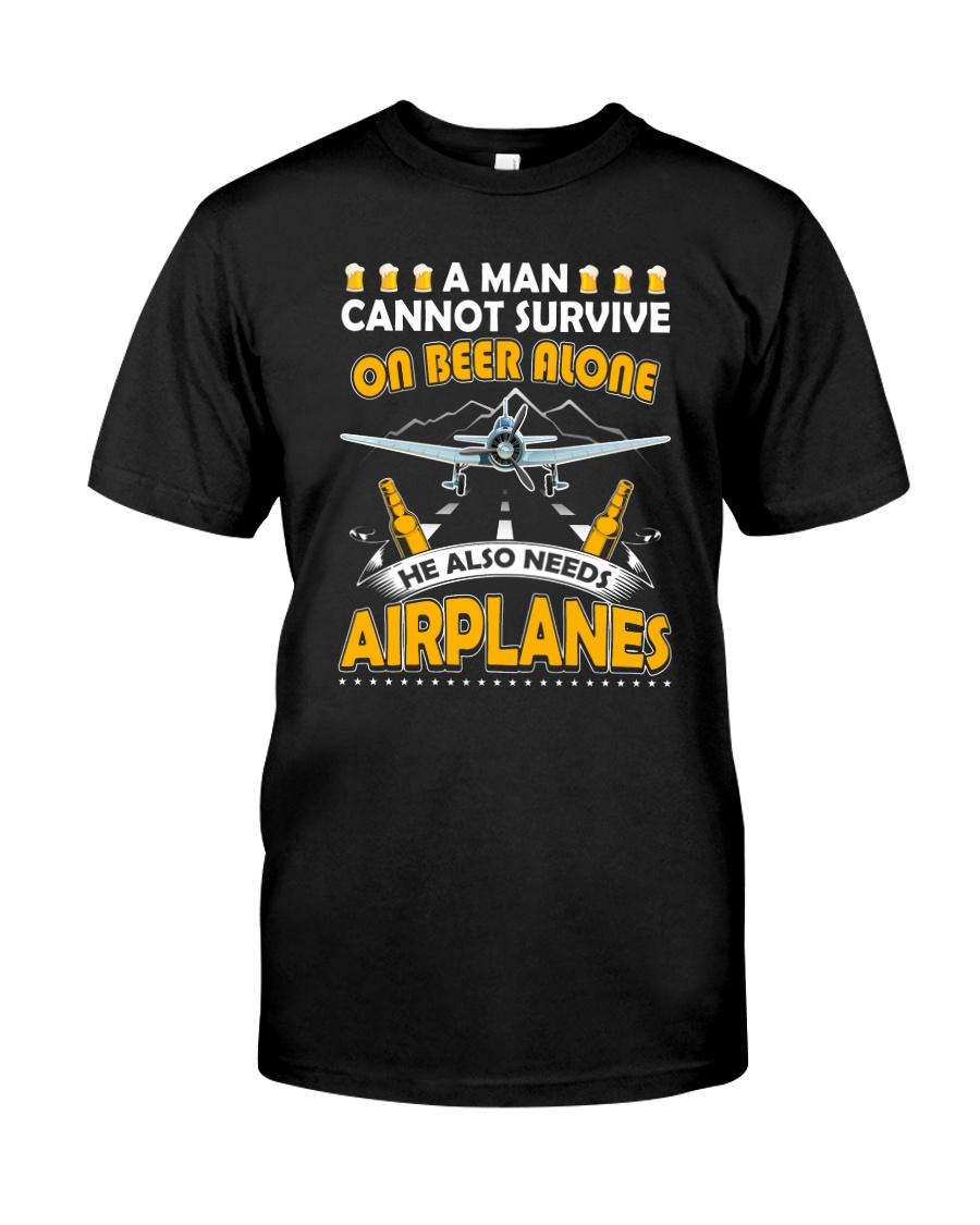 PILOT AVIATION GIFT - BEER AND AIRPLANES Classic T-Shirt