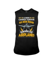 PILOT AVIATION GIFT - BEER AND AIRPLANES Sleeveless Tee thumbnail