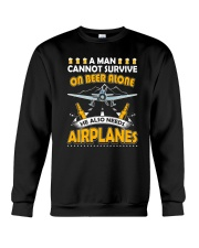 PILOT AVIATION GIFT - BEER AND AIRPLANES Crewneck Sweatshirt tile
