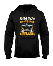 PILOT AVIATION GIFT - BEER AND AIRPLANES Hooded Sweatshirt thumbnail
