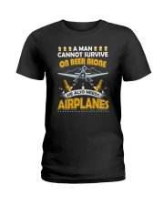 PILOT AVIATION GIFT - BEER AND AIRPLANES Ladies T-Shirt thumbnail