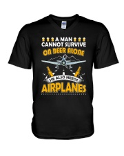 PILOT AVIATION GIFT - BEER AND AIRPLANES V-Neck T-Shirt thumbnail